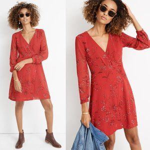 NWOT Madewell Red Hazelwood Floral Wrap LS Dress